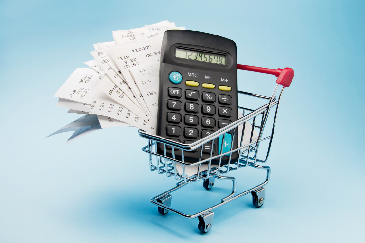 Calculator and receipts for pricing protection plans placed in a retail shopping cart