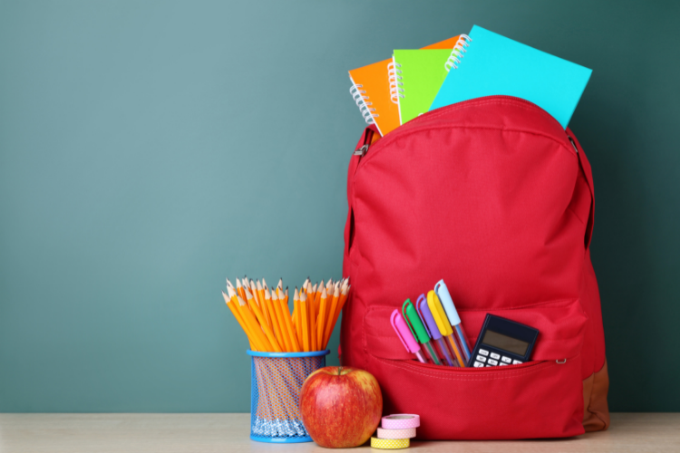 Backpack with warranty filled with school supplies